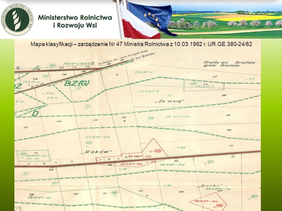 Mapa klasyfikacji – zarządzenie Nr 47 Ministra Rolnictwa z 10.03.1962 r. UR.GE.380-24/62