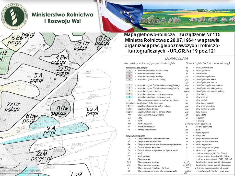 Mapa glebowo-rolnicza – zarządzenie Nr 115 Ministra Rolnictwa z 28.07.1964 r w sprawie organizacji prac gleboznawczych i rolniczo- kartograficznych -
