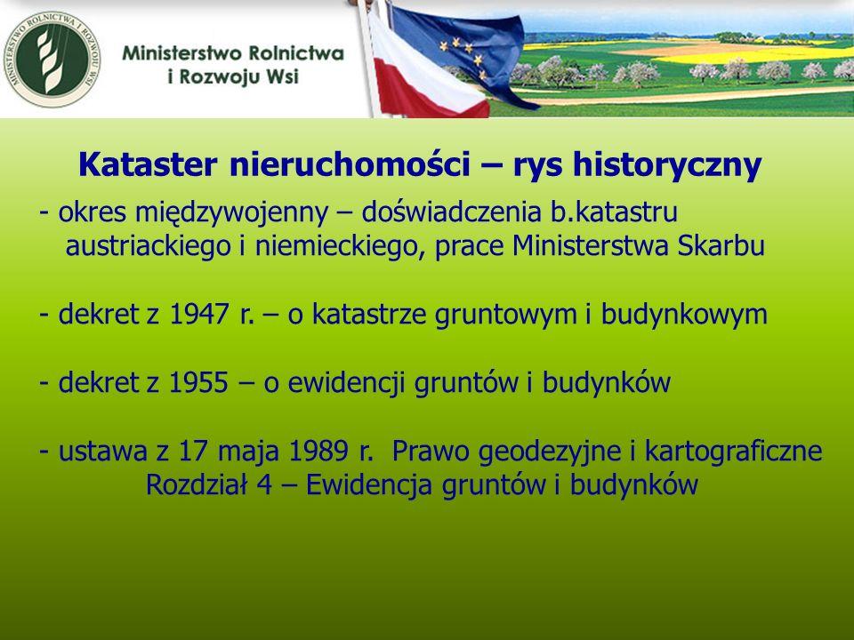 Kwiecień 2005 - okres międzywojenny – doświadczenia b.katastru austriackiego i niemieckiego, prace Ministerstwa Skarbu - dekret z 1947 r. – o katastrz