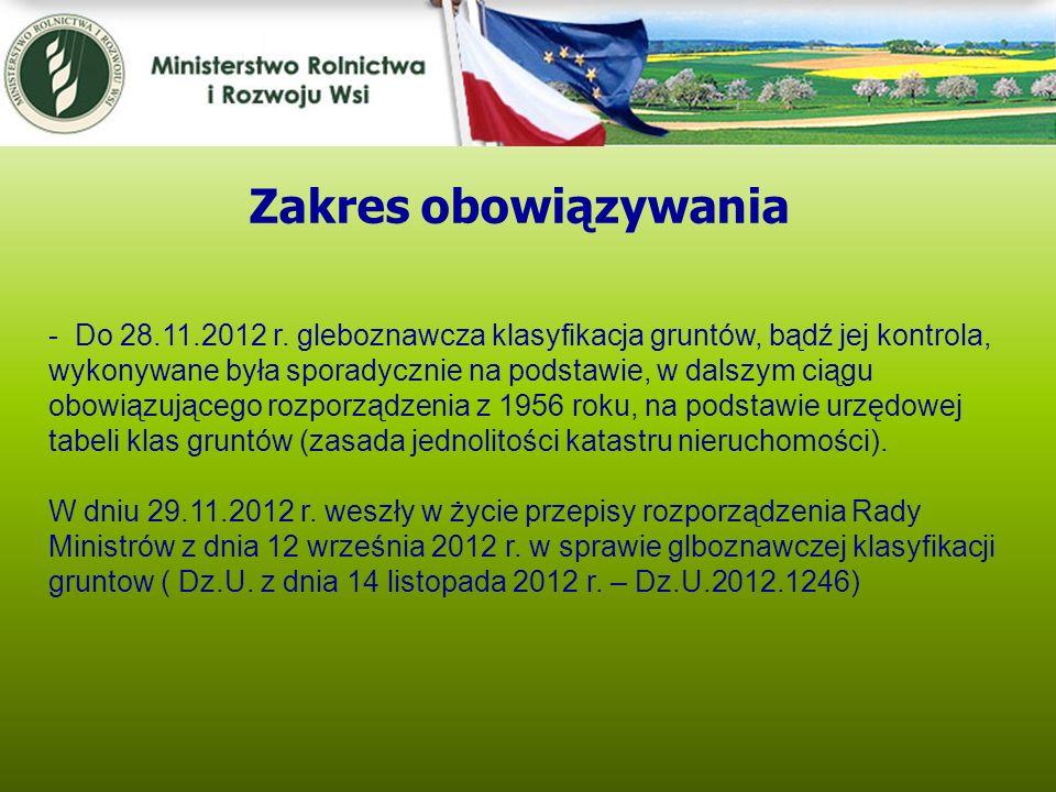 Kwiecień 2005 - Do 28.11.2012 r. gleboznawcza klasyfikacja gruntów, bądź jej kontrola, wykonywane była sporadycznie na podstawie, w dalszym ciągu obow