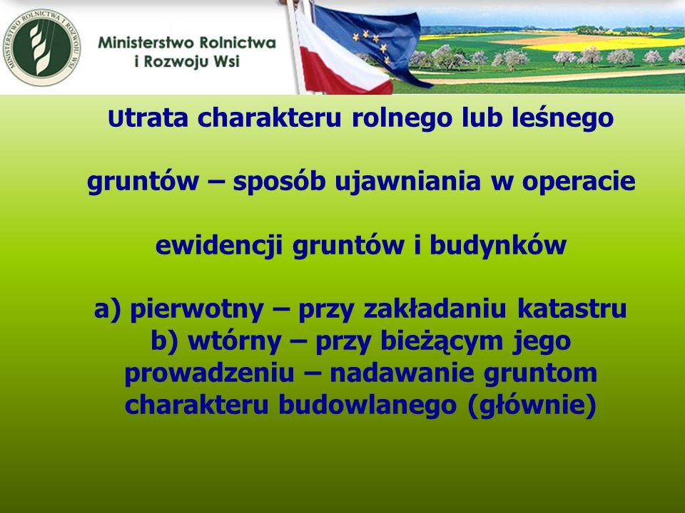 Kwiecień 2005 U trata charakteru rolnego lub leśnego gruntów – sposób ujawniania w operacie ewidencji gruntów i budynków a) pierwotny – przy zakładani