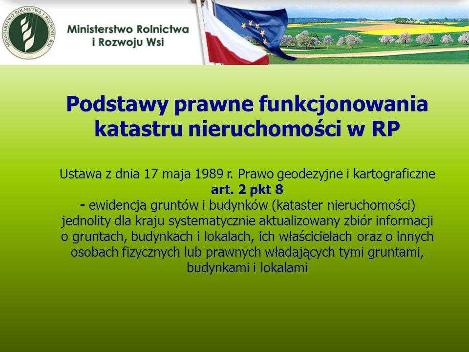 Kwiecień 2005 Podstawy prawne funkcjonowania katastru nieruchomości w RP Ustawa z dnia 17 maja 1989 r. Prawo geodezyjne i kartograficzne art. 2 pkt 8