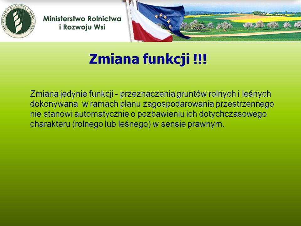Kwiecień 2005 Zmiana funkcji !!! Zmiana jedynie funkcji - przeznaczenia gruntów rolnych i leśnych dokonywana w ramach planu zagospodarowania przestrze