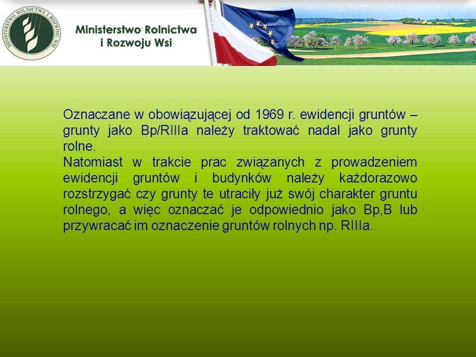 Kwiecień 2005 Oznaczane w obowiązującej od 1969 r. ewidencji gruntów – grunty jako Bp/RIIIa należy traktować nadal jako grunty rolne. Natomiast w trak