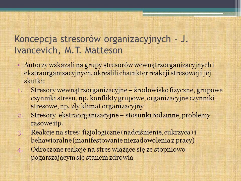 Koncepcja stresorów organizacyjnych – J. Ivancevich, M.T. Matteson Autorzy wskazali na grupy stresorów wewnątrzorganizacyjnych i ekstraorganizacyjnych