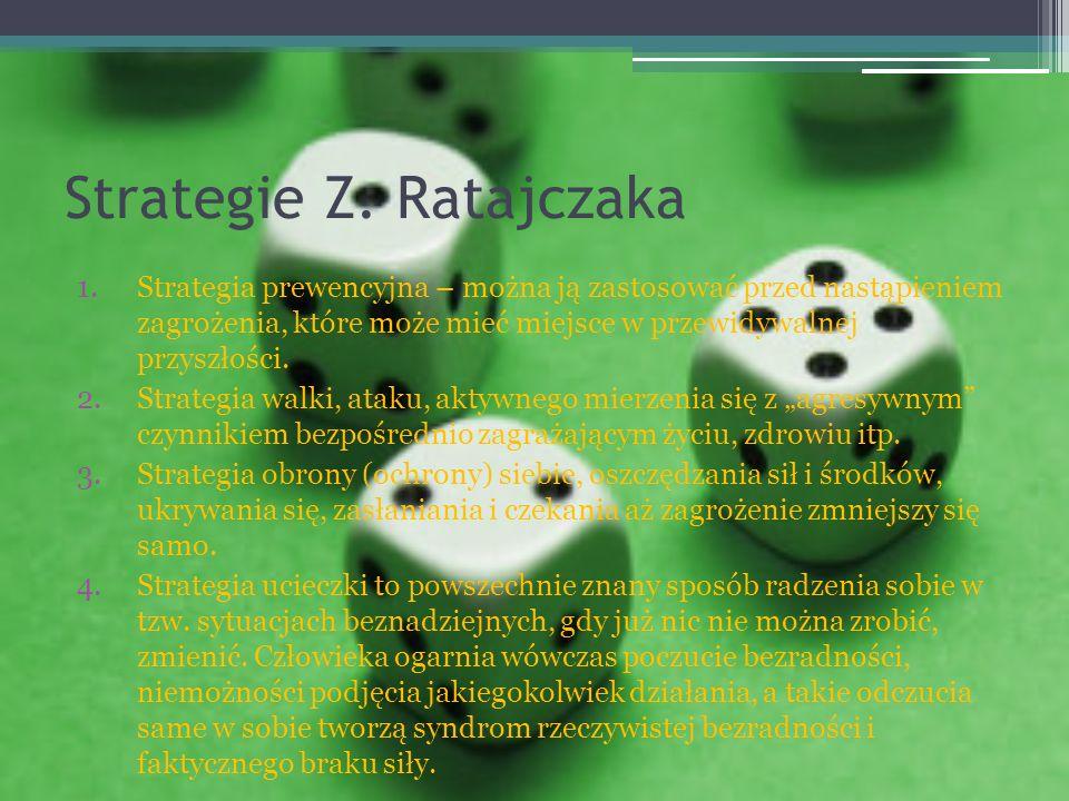 Strategie Z. Ratajczaka 1.Strategia prewencyjna – można ją zastosować przed nastąpieniem zagrożenia, które może mieć miejsce w przewidywalnej przyszło
