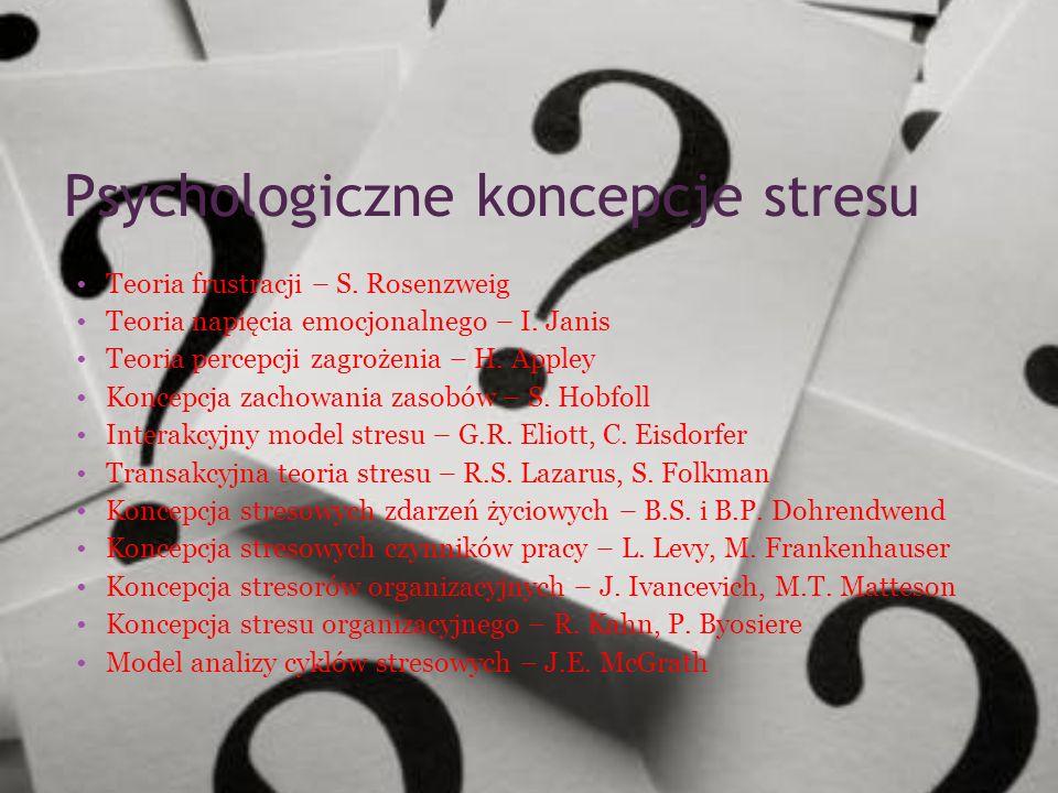 Psychologiczne koncepcje stresu Teoria frustracji – S. Rosenzweig Teoria napięcia emocjonalnego – I. Janis Teoria percepcji zagrożenia – H. Appley Kon
