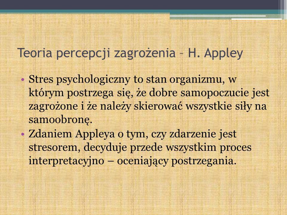 Teoria percepcji zagrożenia – H. Appley Stres psychologiczny to stan organizmu, w którym postrzega się, że dobre samopoczucie jest zagrożone i że nale