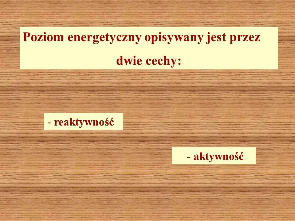 Poziom energetyczny opisywany jest przez dwie cechy: - aktywność - reaktywność