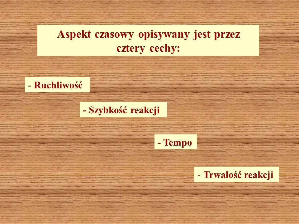 Aspekt czasowy opisywany jest przez cztery cechy: - Ruchliwość - Szybkość reakcji - Tempo - Trwałość reakcji