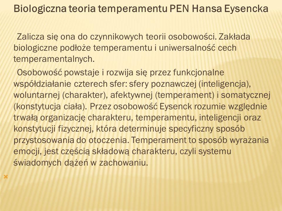Biologiczna teoria temperamentu PEN Hansa Eysencka Zalicza się ona do czynnikowych teorii osobowości. Zakłada biologiczne podłoże temperamentu i uniwe