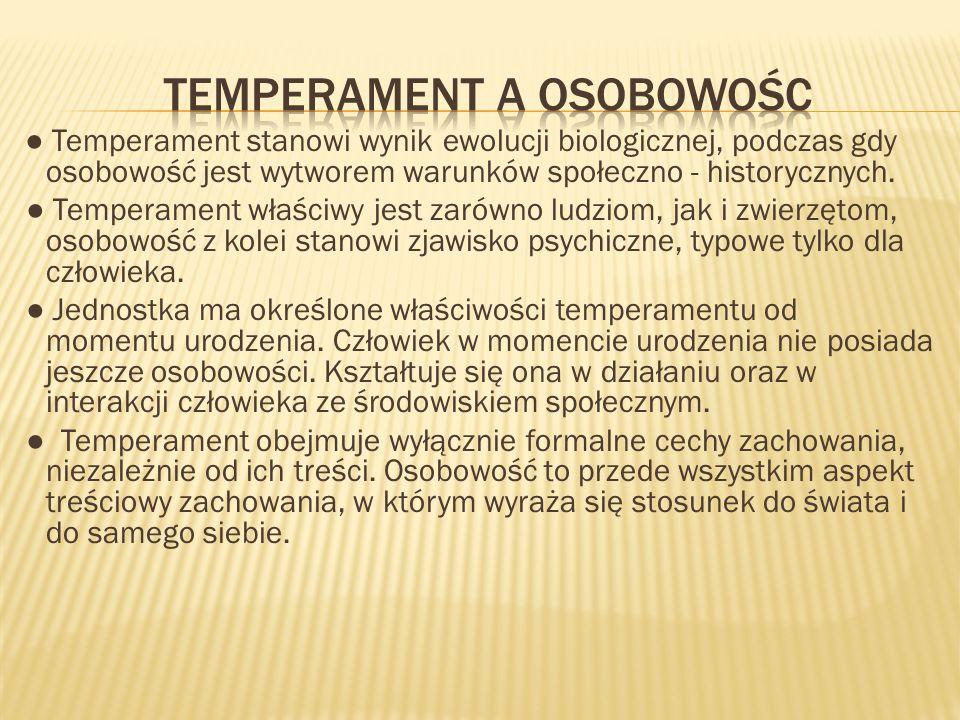 Temperament stanowi wynik ewolucji biologicznej, podczas gdy osobowość jest wytworem warunków społeczno - historycznych. Temperament właściwy jest zar
