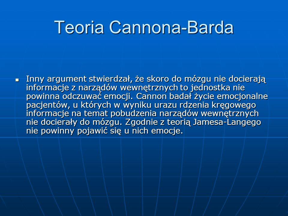 Teoria Cannona-Barda Inny argument stwierdzał, że skoro do mózgu nie docierają informacje z narządów wewnętrznych to jednostka nie powinna odczuwać em