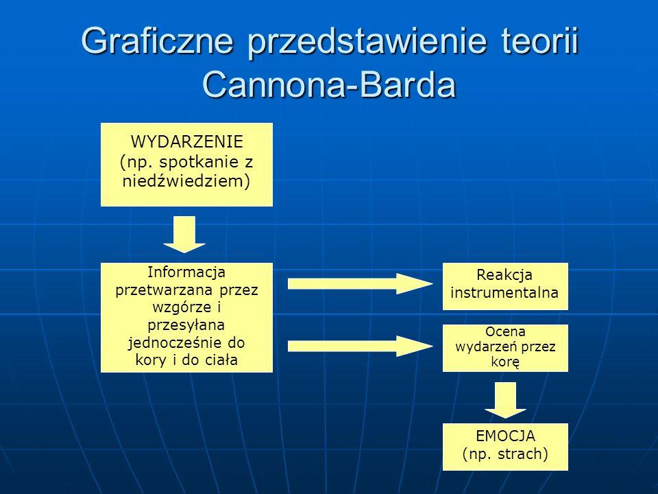 Graficzne przedstawienie teorii Cannona-Barda WYDARZENIE (np. spotkanie z niedźwiedziem) Informacja przetwarzana przez wzgórze i przesyłana jednocześn