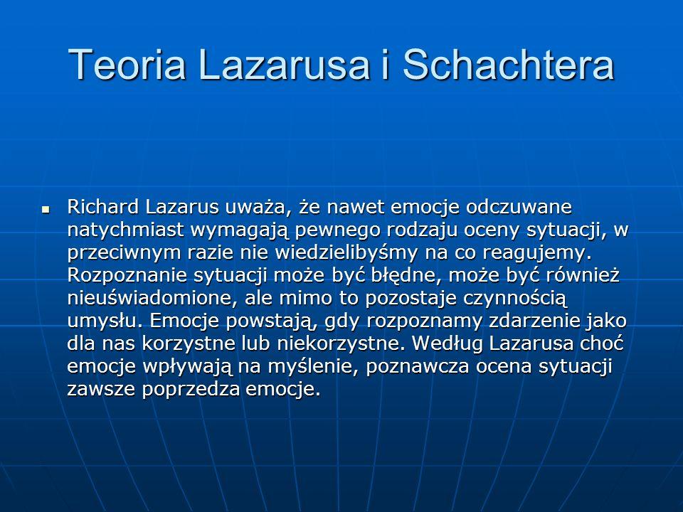 Teoria Lazarusa i Schachtera Richard Lazarus uważa, że nawet emocje odczuwane natychmiast wymagają pewnego rodzaju oceny sytuacji, w przeciwnym razie