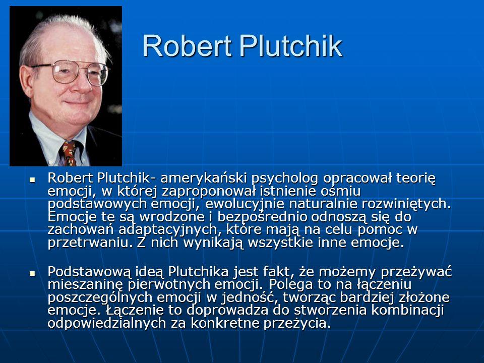 Robert Plutchik Robert Plutchik- amerykański psycholog opracował teorię emocji, w której zaproponował istnienie ośmiu podstawowych emocji, ewolucyjnie