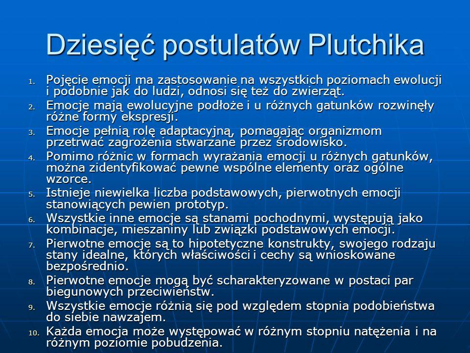 Dziesięć postulatów Plutchika 1. Pojęcie emocji ma zastosowanie na wszystkich poziomach ewolucji i podobnie jak do ludzi, odnosi się też do zwierząt.