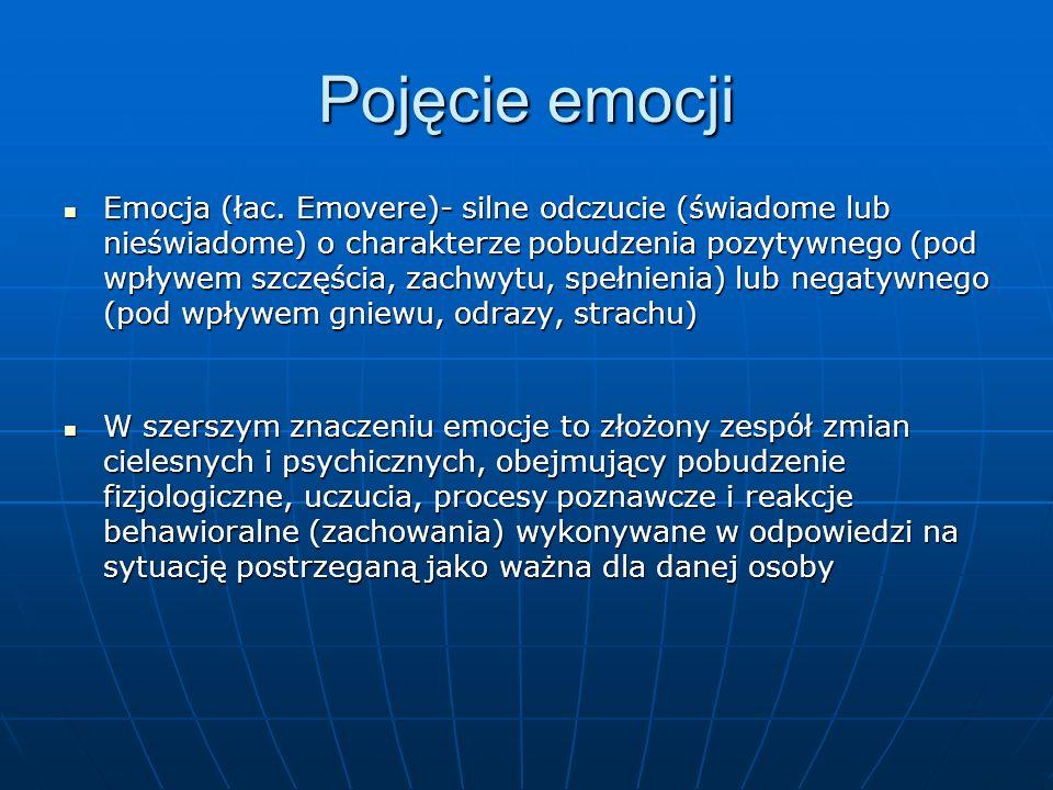 Pojęcie emocji Emocja (łac. Emovere)- silne odczucie (świadome lub nieświadome) o charakterze pobudzenia pozytywnego (pod wpływem szczęścia, zachwytu,