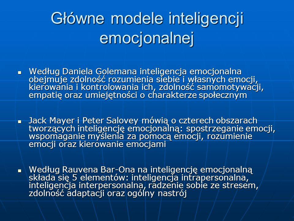 Główne modele inteligencji emocjonalnej Według Daniela Golemana inteligencja emocjonalna obejmuje zdolność rozumienia siebie i własnych emocji, kierow