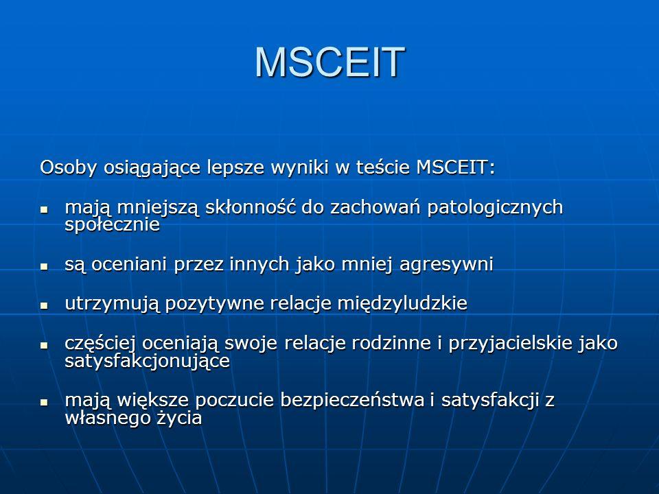 MSCEIT Osoby osiągające lepsze wyniki w teście MSCEIT: mają mniejszą skłonność do zachowań patologicznych społecznie mają mniejszą skłonność do zachow