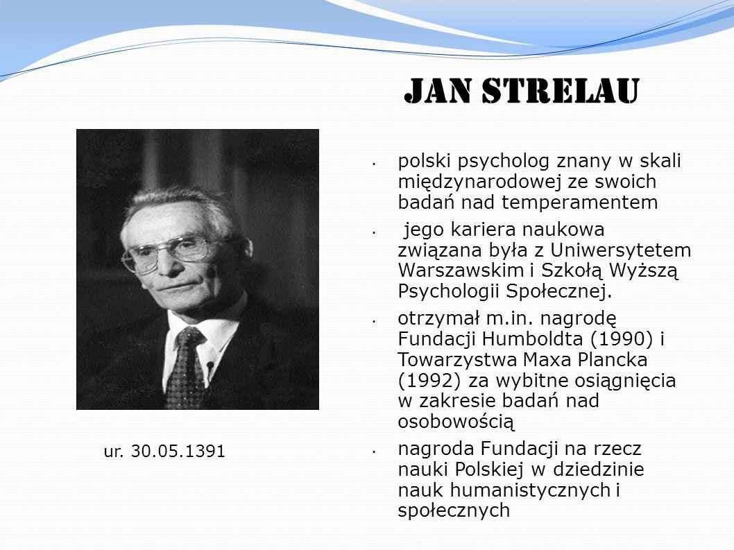 Jan Strelau polski psycholog znany w skali międzynarodowej ze swoich badań nad temperamentem jego kariera naukowa związana była z Uniwersytetem Warsza