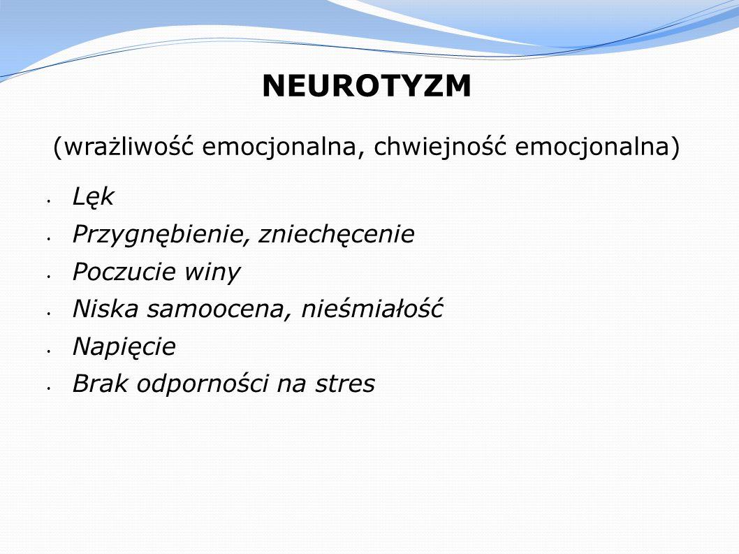 NEUROTYZM (wrażliwość emocjonalna, chwiejność emocjonalna) Lęk Przygnębienie, zniechęcenie Poczucie winy Niska samoocena, nieśmiałość Napięcie Brak od