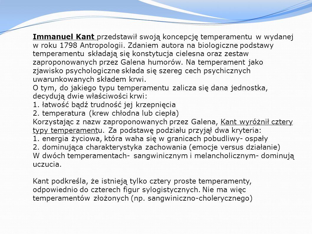 Immanuel Kant przedstawił swoją koncepcję temperamentu w wydanej w roku 1798 Antropologii. Zdaniem autora na biologiczne podstawy temperamentu składaj