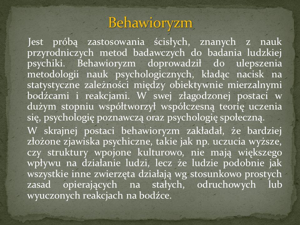 Jest próbą zastosowania ścisłych, znanych z nauk przyrodniczych metod badawczych do badania ludzkiej psychiki. Behawioryzm doprowadził do ulepszenia m