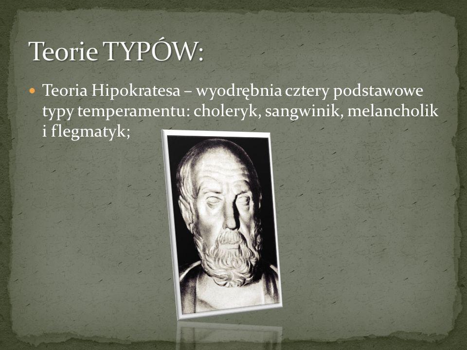 Teoria Hipokratesa – wyodrębnia cztery podstawowe typy temperamentu: choleryk, sangwinik, melancholik i flegmatyk;