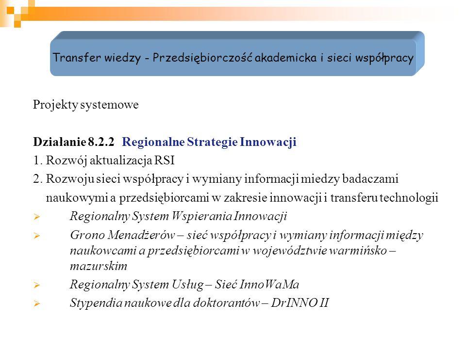 Regionalny System Wspierania Innowacji Cel główny projektu: Rozwój sieci współpracy i wymiany informacji pomiędzy naukowcami a przedsiębiorcami w zakresie innowacji i transferu technologii w województwie warmińsko – mazurskim poprzez przygotowanie i testowanie nowoczesnych usług proinnowacyjnych w latach 2010-2011.