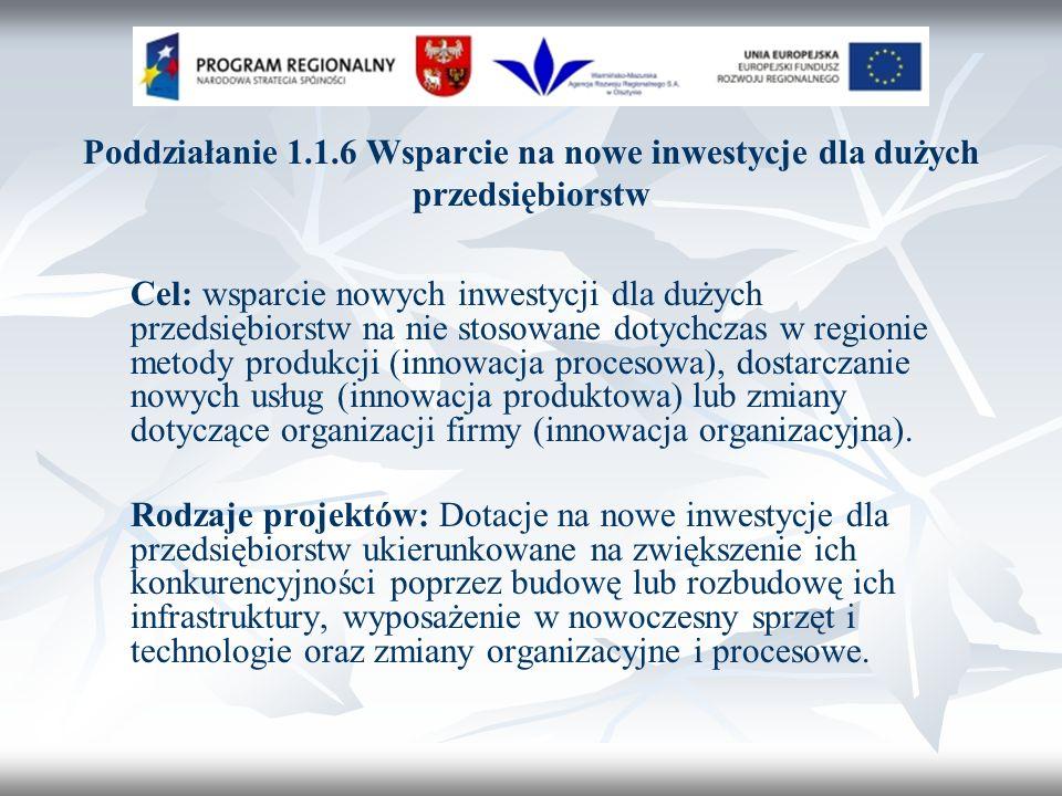 Poddziałanie 1.1.6 Wsparcie na nowe inwestycje dla dużych przedsiębiorstw Cel: wsparcie nowych inwestycji dla dużych przedsiębiorstw na nie stosowane dotychczas w regionie metody produkcji (innowacja procesowa), dostarczanie nowych usług (innowacja produktowa) lub zmiany dotyczące organizacji firmy (innowacja organizacyjna).