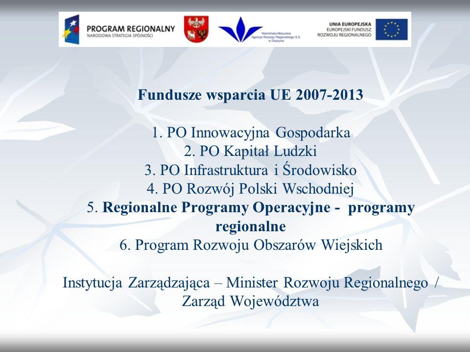 Fundusze wsparcia UE 2007-2013 1. PO Innowacyjna Gospodarka 2.