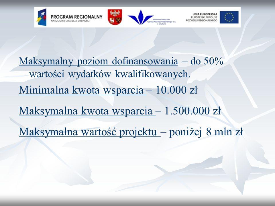 Maksymalny poziom dofinansowania – do 50% wartości wydatków kwalifikowanych.