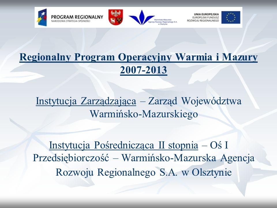 Regionalny Program Operacyjny Warmia i Mazury 2007-2013 Instytucja Zarządzająca – Zarząd Województwa Warmińsko-Mazurskiego Instytucja Pośrednicząca II stopnia – Oś I Przedsiębiorczość – Warmińsko-Mazurska Agencja Rozwoju Regionalnego S.A.