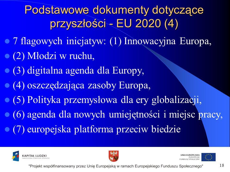 Podstawowe dokumenty dotyczące przyszłości - EU 2020 (4) 7 flagowych inicjatyw: (1) Innowacyjna Europa, (2) Młodzi w ruchu, (3) digitalna agenda dla Europy, (4) oszczędzająca zasoby Europa, (5) Polityka przemysłowa dla ery globalizacji, (6) agenda dla nowych umiejętności i miejsc pracy, (7) europejska platforma przeciw biedzie 18