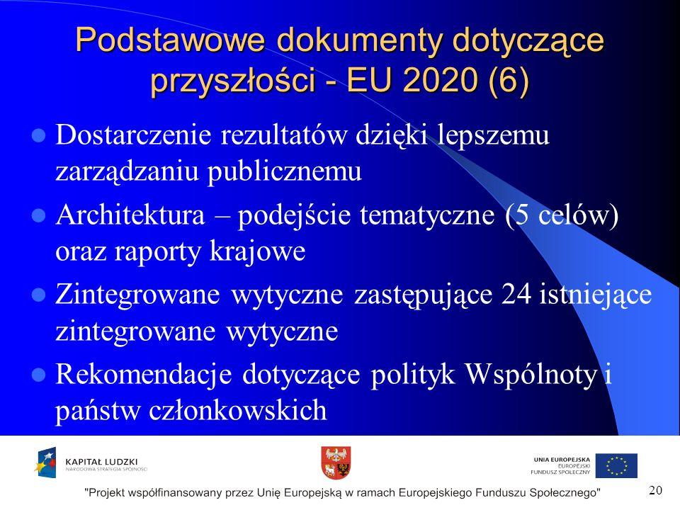 Podstawowe dokumenty dotyczące przyszłości - EU 2020 (6) Dostarczenie rezultatów dzięki lepszemu zarządzaniu publicznemu Architektura – podejście tematyczne (5 celów) oraz raporty krajowe Zintegrowane wytyczne zastępujące 24 istniejące zintegrowane wytyczne Rekomendacje dotyczące polityk Wspólnoty i państw członkowskich 20