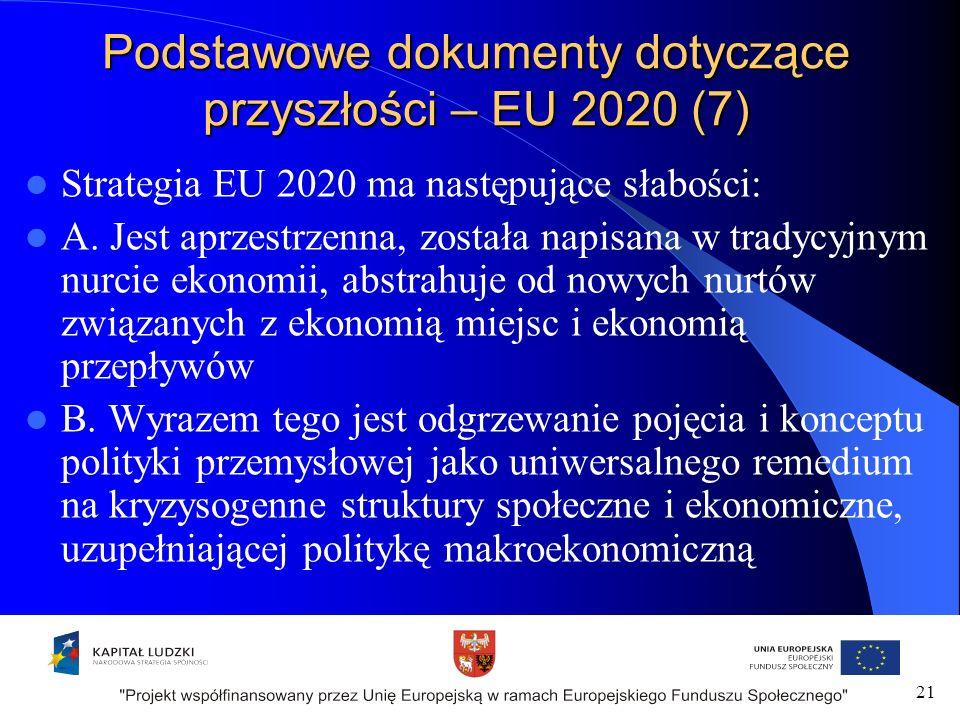 Podstawowe dokumenty dotyczące przyszłości – EU 2020 (7) Strategia EU 2020 ma następujące słabości: A.