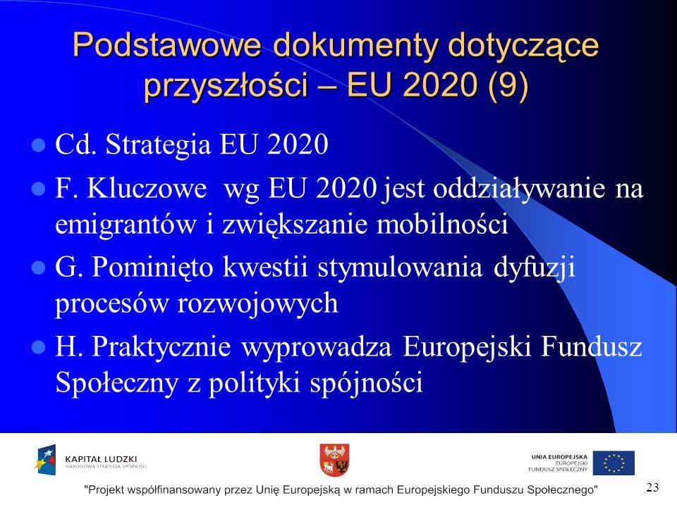 Podstawowe dokumenty dotyczące przyszłości – EU 2020 (9) Cd.