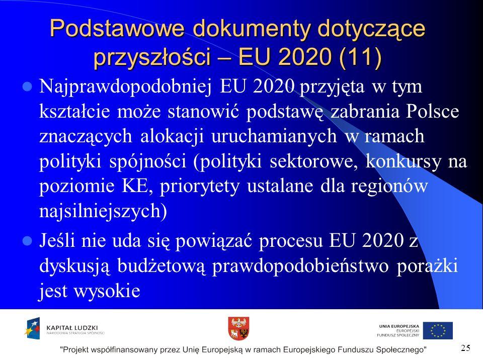 Podstawowe dokumenty dotyczące przyszłości – EU 2020 (11) Najprawdopodobniej EU 2020 przyjęta w tym kształcie może stanowić podstawę zabrania Polsce znaczących alokacji uruchamianych w ramach polityki spójności (polityki sektorowe, konkursy na poziomie KE, priorytety ustalane dla regionów najsilniejszych) Jeśli nie uda się powiązać procesu EU 2020 z dyskusją budżetową prawdopodobieństwo porażki jest wysokie 25