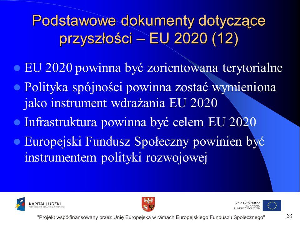 Podstawowe dokumenty dotyczące przyszłości – EU 2020 (12) EU 2020 powinna być zorientowana terytorialne Polityka spójności powinna zostać wymieniona jako instrument wdrażania EU 2020 Infrastruktura powinna być celem EU 2020 Europejski Fundusz Społeczny powinien być instrumentem polityki rozwojowej 26