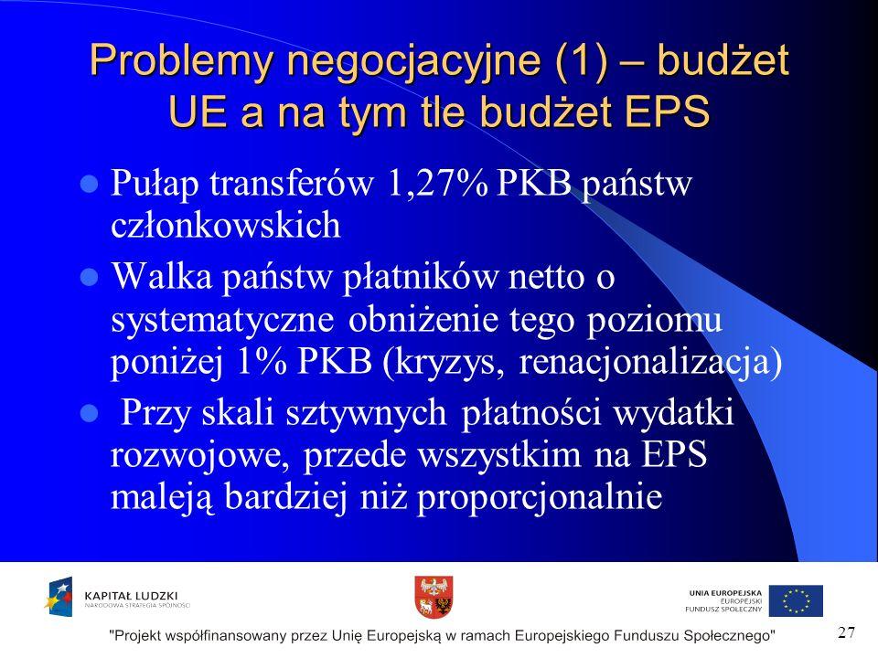 Problemy negocjacyjne (1) – budżet UE a na tym tle budżet EPS Pułap transferów 1,27% PKB państw członkowskich Walka państw płatników netto o systematyczne obniżenie tego poziomu poniżej 1% PKB (kryzys, renacjonalizacja) Przy skali sztywnych płatności wydatki rozwojowe, przede wszystkim na EPS maleją bardziej niż proporcjonalnie 27