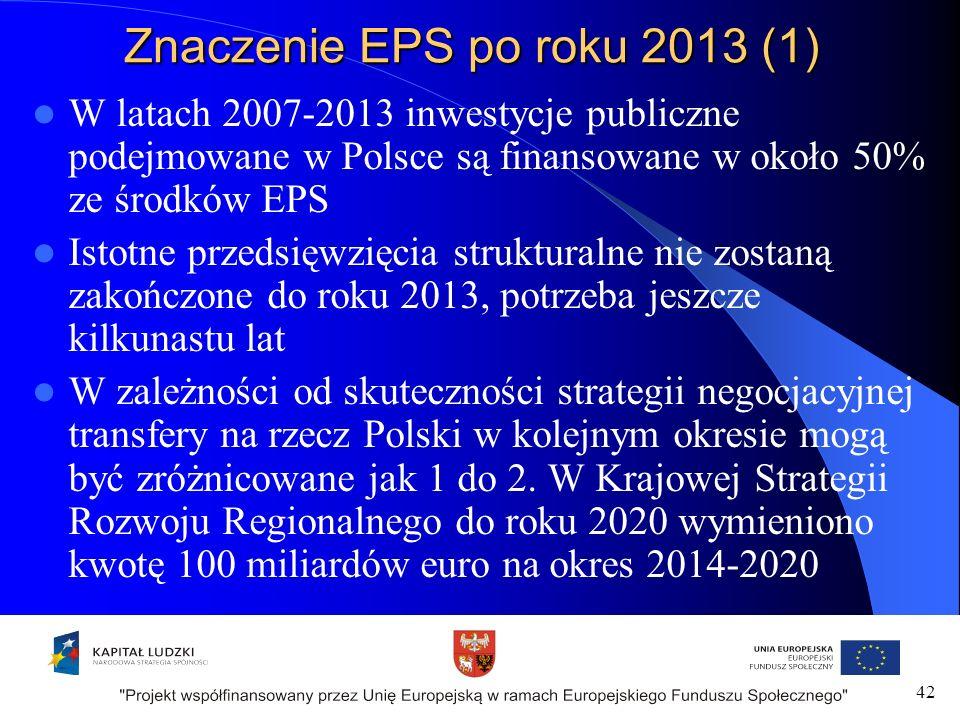 Znaczenie EPS po roku 2013 (1) W latach 2007-2013 inwestycje publiczne podejmowane w Polsce są finansowane w około 50% ze środków EPS Istotne przedsięwzięcia strukturalne nie zostaną zakończone do roku 2013, potrzeba jeszcze kilkunastu lat W zależności od skuteczności strategii negocjacyjnej transfery na rzecz Polski w kolejnym okresie mogą być zróżnicowane jak 1 do 2.