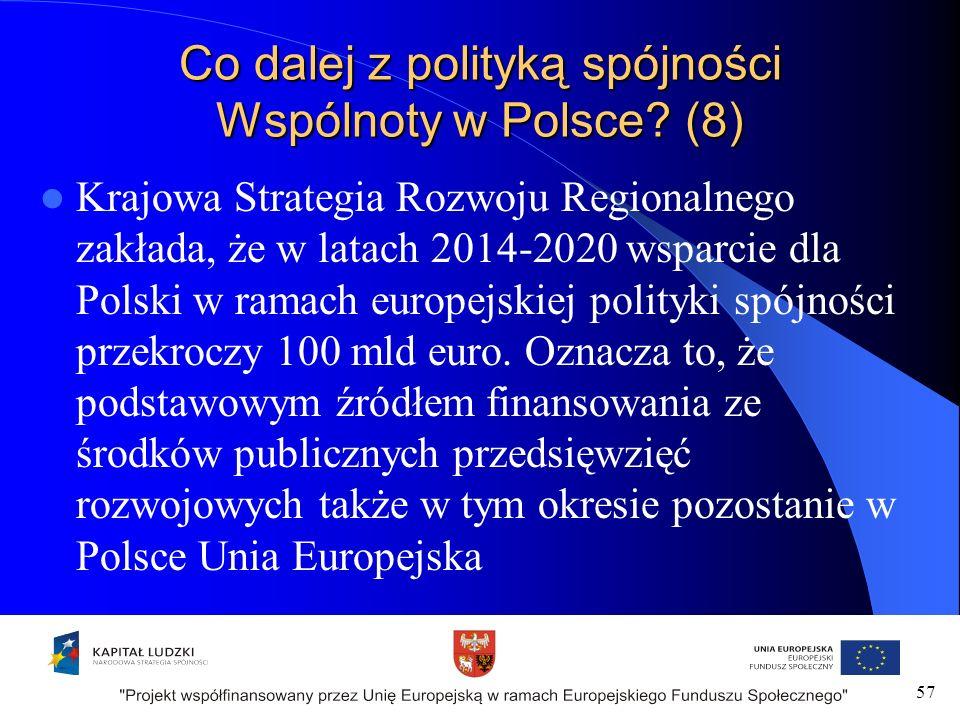 57 Co dalej z polityką spójności Wspólnoty w Polsce.