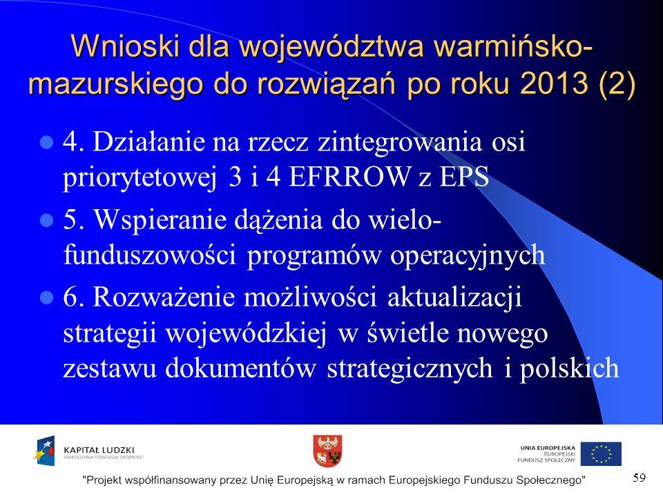 59 Wnioski dla województwa warmińsko- mazurskiego do rozwiązań po roku 2013 (2) 4.