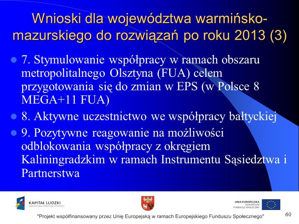60 Wnioski dla województwa warmińsko- mazurskiego do rozwiązań po roku 2013 (3) 7.