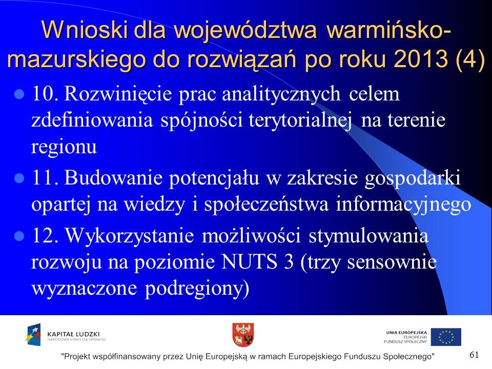 Wnioski dla województwa warmińsko- mazurskiego do rozwiązań po roku 2013 (4) 10.