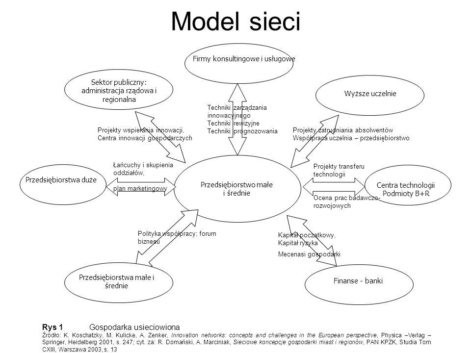 Model sieci Centra technologii Podmioty B+R Rys 1 Gospodarka usieciowiona Źródło: K. Koschatzky, M. Kulicke, A. Zenker, Innovation networks: concepts