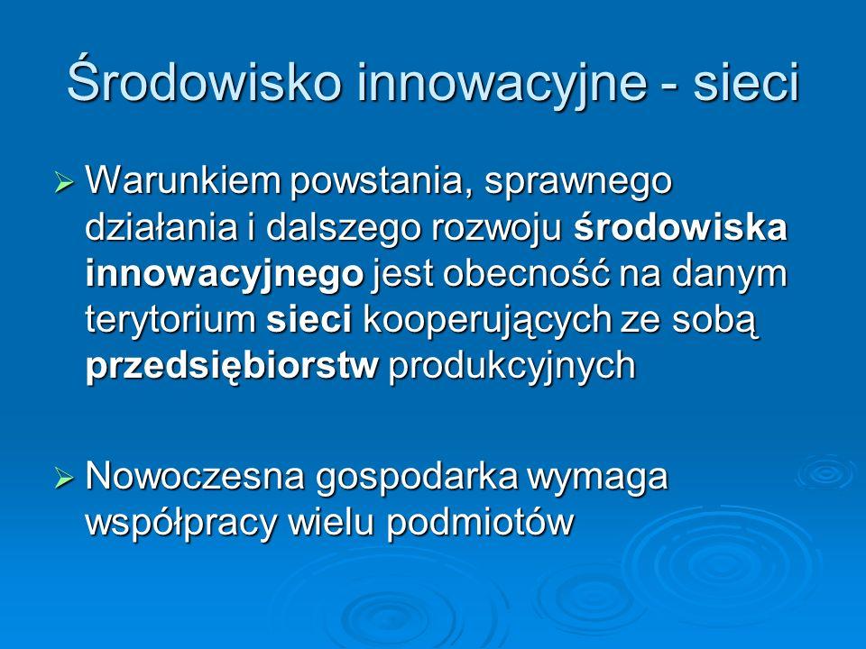 Środowisko innowacyjne - sieci Warunkiem powstania, sprawnego działania i dalszego rozwoju środowiska innowacyjnego jest obecność na danym terytorium sieci kooperujących ze sobą przedsiębiorstw produkcyjnych Warunkiem powstania, sprawnego działania i dalszego rozwoju środowiska innowacyjnego jest obecność na danym terytorium sieci kooperujących ze sobą przedsiębiorstw produkcyjnych Nowoczesna gospodarka wymaga współpracy wielu podmiotów Nowoczesna gospodarka wymaga współpracy wielu podmiotów