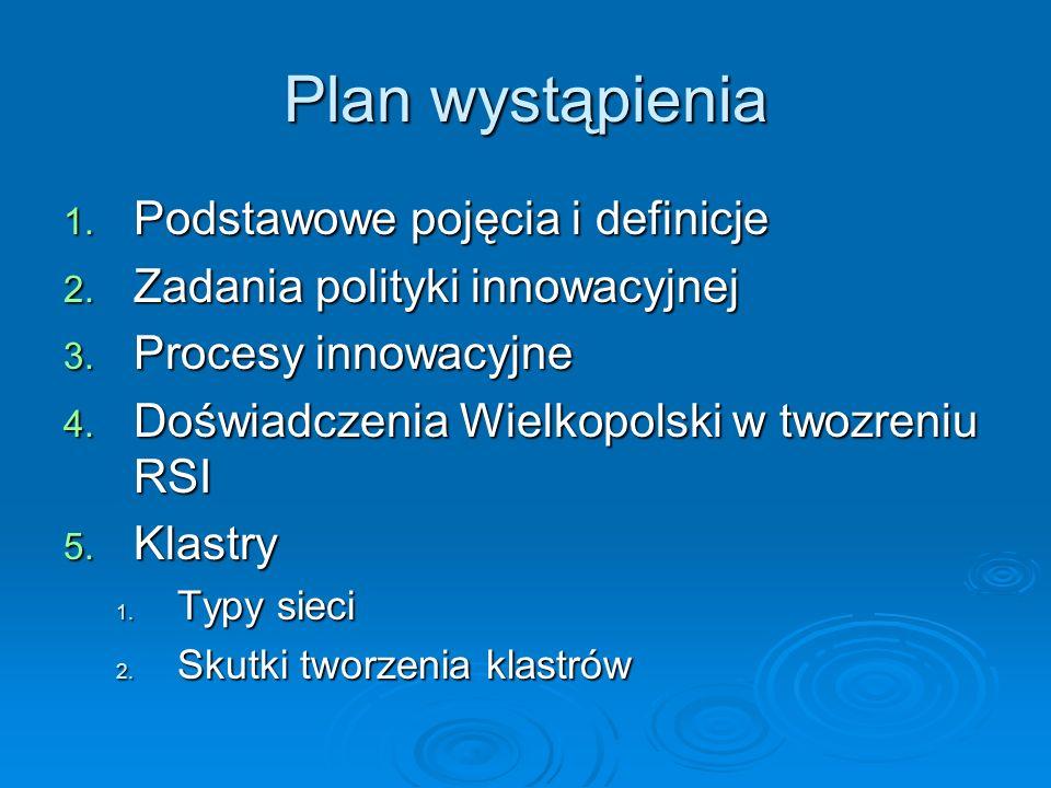 Plan wystąpienia 1. Podstawowe pojęcia i definicje 2. Zadania polityki innowacyjnej 3. Procesy innowacyjne 4. Doświadczenia Wielkopolski w twozreniu R