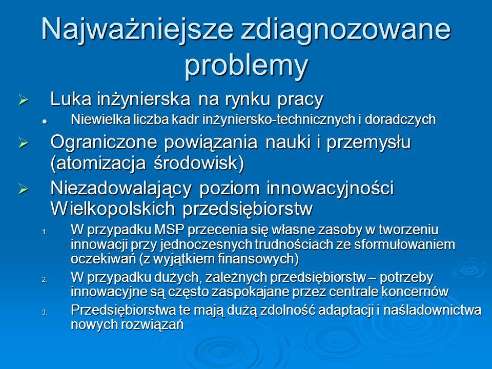 Najważniejsze zdiagnozowane problemy Luka inżynierska na rynku pracy Luka inżynierska na rynku pracy Niewielka liczba kadr inżyniersko-technicznych i